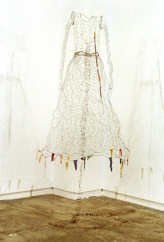"Lesley Dill – ""Homage to Frida Kahlo"". 1999. Wire, thread, cloth, gold-leaf. 54 x 42 x 42 in"